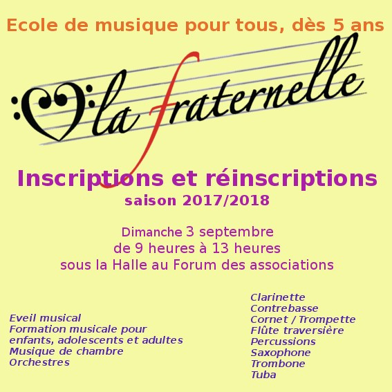 Inscriptions Septembre 2017
